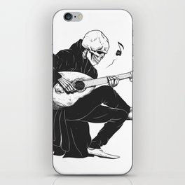 Minstrel playing guitar,grim reaper musician cartoon,gothic skull,medieval skeleton,death poet illus iPhone Skin