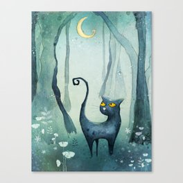 Cat in the forest Canvas Print