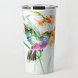 Hummignbird and Flowers Travel Mug