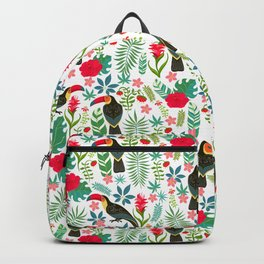 Decorative pattern with toucans, tropical flowers and leaves Backpack