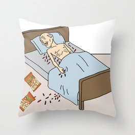 Old Man In Bed w/ Cheetos Throw Pillow