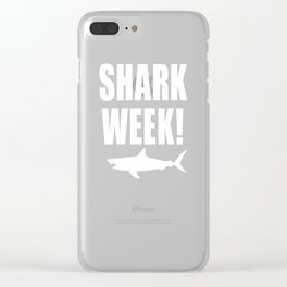 Shark Week, white text on black Clear iPhone Case