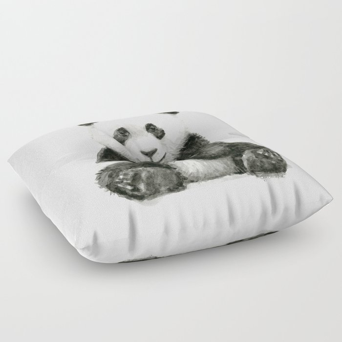 Panda Baby Watercolor Animal Art Floor Pillow by olechka | Society6