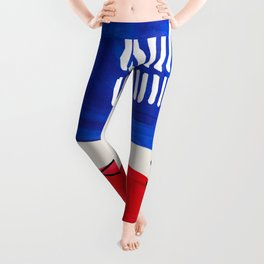 Fun Abstract Minimalist Mid Century Modern Colorful Shapes Red Blue Color Harmony Watercolor Bubbles Leggings