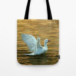 White duck on golden pond Tote Bag