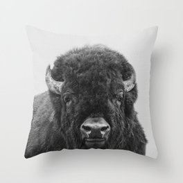 Buffalo Print, Bison Wall Art, Photography Print Throw Pillow