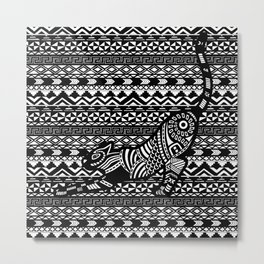 Black & White Tribal Cat on pattern Metal Print