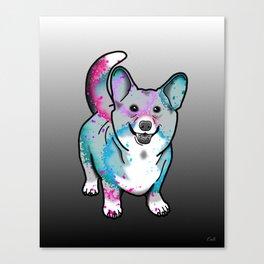 Corgi in Watercolor Splash Canvas Print