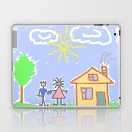 child's drawing with happy family Laptop & iPad Skin