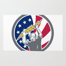 American Electrician USA Flag Icon Rug