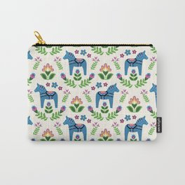 Swedsh Dala Horses Blue Carry-All Pouch