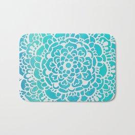 Aqua Turquoise Sparkle Doodle Pattern Bath Mat
