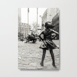 Fearless Girl & Bull - NYC Metal Print