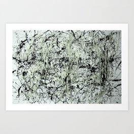 Abstract Jackson Pollock Painting Original Art Titled: Black vs White  Art Print