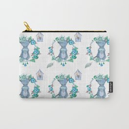 Lufkin Mouse Repeat Pattern Blue Illustration - Bagaceous Carry-All Pouch