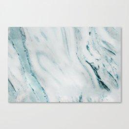 Teal Streaked Marble Canvas Print
