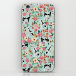 Great Dane dog breed florals mint pattern print for dog owner with great dane must have gifts iPhone Skin