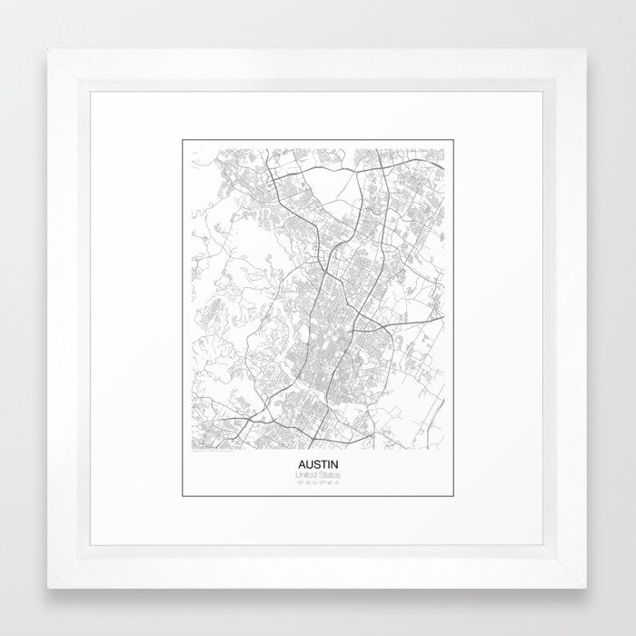 Austin, Texas Minimalist Map Framed Art Print by resfeber | Society6