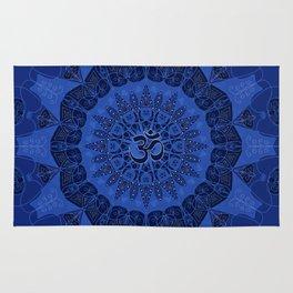 Mandala pattern yoga sign namaste navy dark blue cobalt Rug