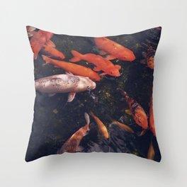 Temple Koi Fish Throw Pillow