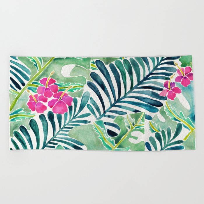 Lush Tropical Fronds Hibiscus Beach Towel