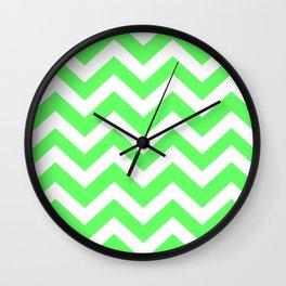 Screamin' Green - green color -  Zigzag Chevron Pattern Wall Clock
