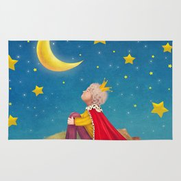The Little Prince  on a small planet  in  night sky  Rug