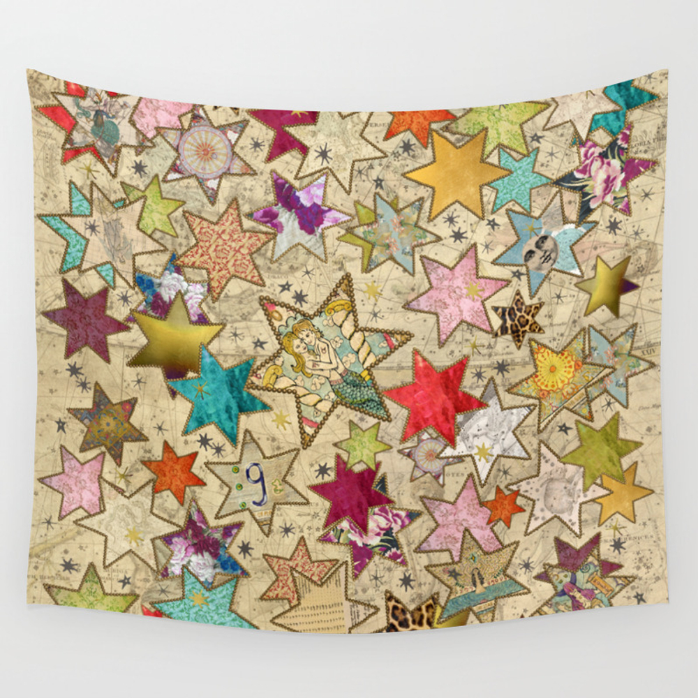 Vintage Nail Stars On Constellation Wall Tapestry by Offthegrid TPS8249774