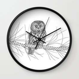 Northern Saw-whet Owl Wall Clock