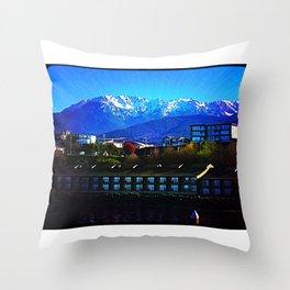 Where the mountains meet the sea. Throw Pillow