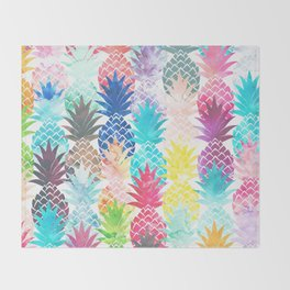 Hawaiian Pineapple Pattern Tropical Watercolor Throw Blanket