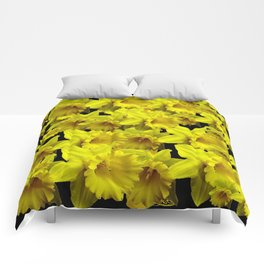 YELLOW SPRING KING ALFRED DAFFODILS ON BLACK Comforters