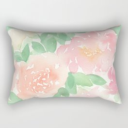 Pink Peonies and Roses Rectangular Pillow