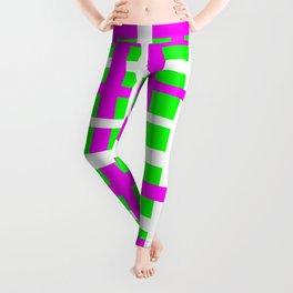 Fuchsia & Green Interlocking Stripes Leggings