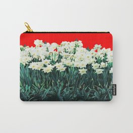 Red Whites Daffodils/Narcisus Spring Blue-Green Garden Carry-All Pouch