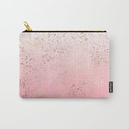 Pink White Ombre Speckled Gold Flakes Carry-All Pouch