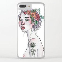 Wicked Woman Ink and Watercolour Illustration Clear iPhone Case