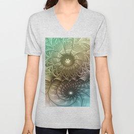 Togetherness, Fractal Art Abstract Unisex V-Neck