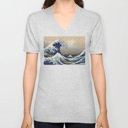 Katsushika Hokusai, The Great Wave off Kanagawa, 1831 Unisex V-Neck