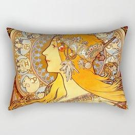 """Alphonse Mucha """"Zodiac"""" Rectangular Pillow"""