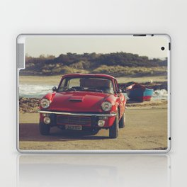 Triumph Spitfire by the sea, with ship, fine art photo, british car, sports car, color, high definit Laptop & iPad Skin