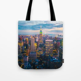 New York City, Manhattan at night Tote Bag