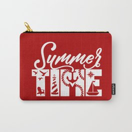 Summer TIME Nautical Solid Red, Seagull, Lounge Chair, Lighthouse, Anchor, Rope, Compass, Sail Boat Carry-All Pouch