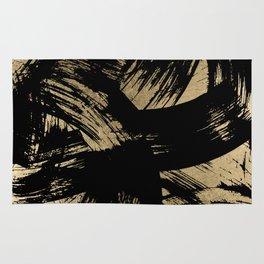 Elegant black faux gold modern brushstrokes pattern Rug