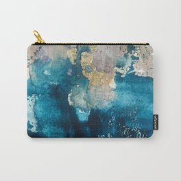 Timeless: A gorgeous, abstract mixed media piece in blue, pink, and gold by Alyssa Hamilton Art Carry-All Pouch