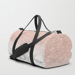 Modern faux rose pink glitter ombre white marble Duffle Bag