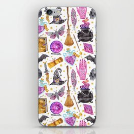Pink gold black watercolor hand painted halloween pattern iPhone Skin