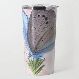 Blue and Purple Butterfly Art Travel Mug