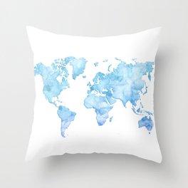 Light blue watercolor world map Throw Pillow