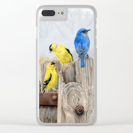 Misty Morning Meadow Cropped- Goldfinches and Bluebird Clear iPhone Case